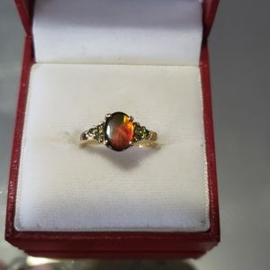Rare Genuine Ammolite 14k yellow gold Ring